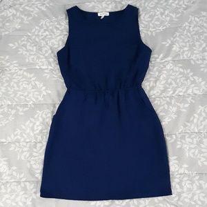 Dark Blue Monteau Midi Pocket Dress, Open Back